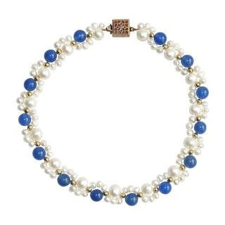 Blue Jade and Pearl Wrist or Ankle Bracelet - 10 Inches