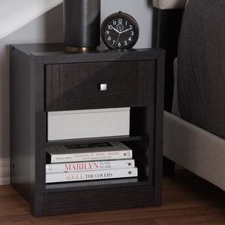 Contemporary Wenge Brown 1-Drawer Nightstand by Baxton Studio