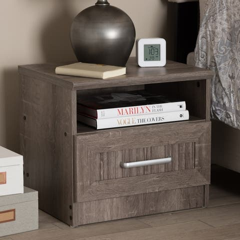 Contemporary Oak Brown 1-Drawer Nightstand by Baxton Studio