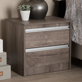 Contemporary Oak Brown 2-Drawer Nightstand by Baxton Studio