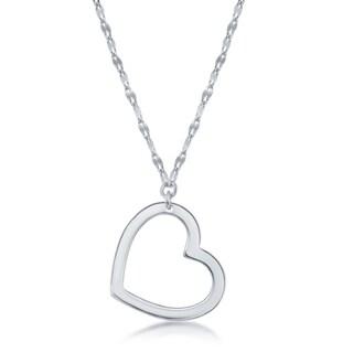 La Preciosa Sterling Silver or Rose Gold Italian Open Heart 16+2'' Necklace