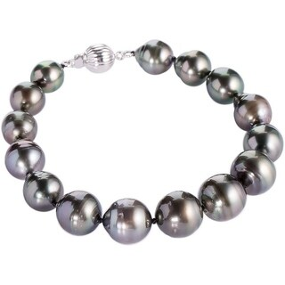 DaVonna Sterling Silver 8-10 mm Black Baroque Tahitian Pearl Bracelet (5 options available)