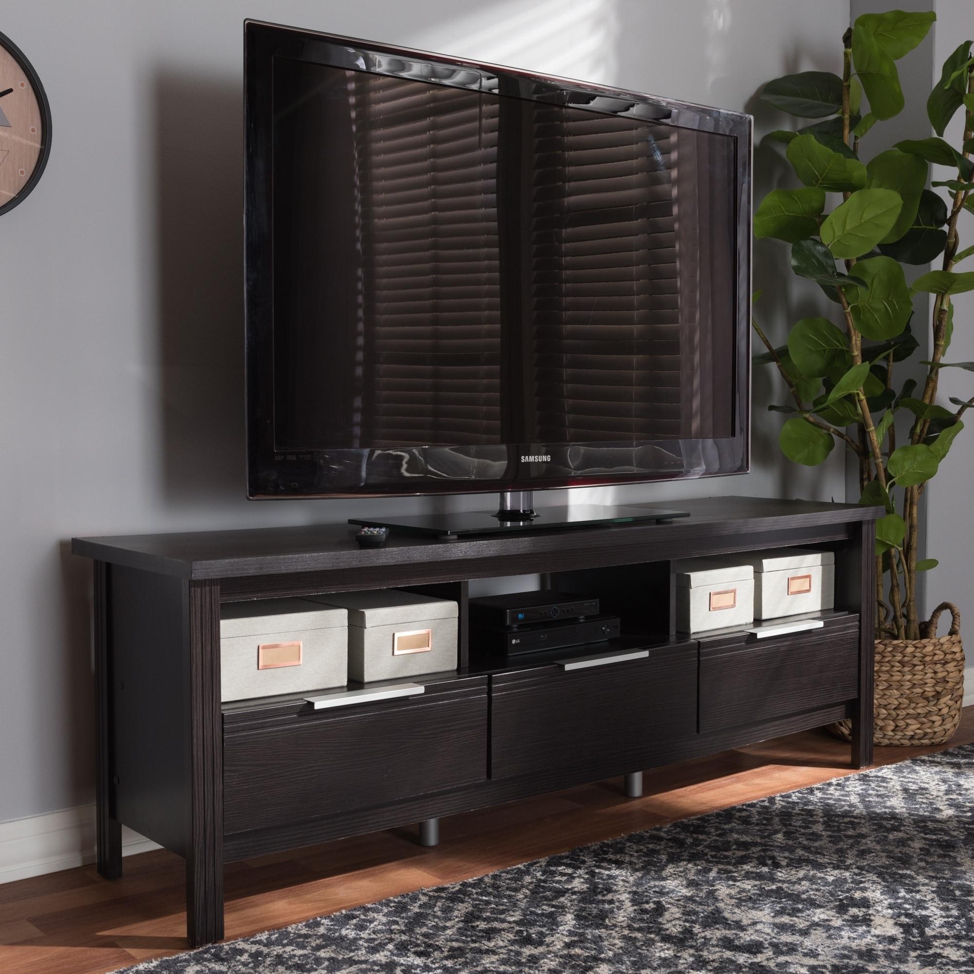 Contemporary Dark Brown TV Stand by Baxton Studio Espresso M