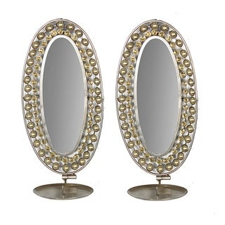 Essential Decor & Beyond White/Gold Metal Accent Mirrors (Set of 2)
