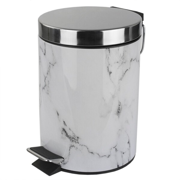 Shop Home Basics White Faux Marble 3 Liter Waste Bin