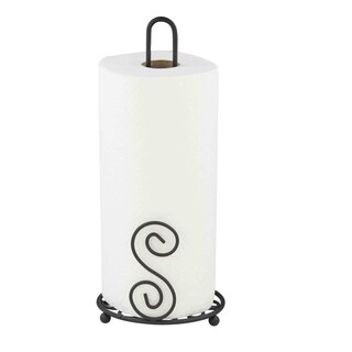 Home Basics Scroll Collection Black Steel Paper Towel Holder