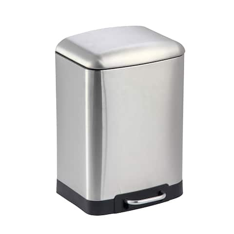 Home Basics Polished Silver 6 Liter Soft-Close Waste Bin