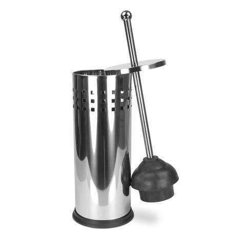 Home Basics Stainless Steel Toilet Plunger and Holder