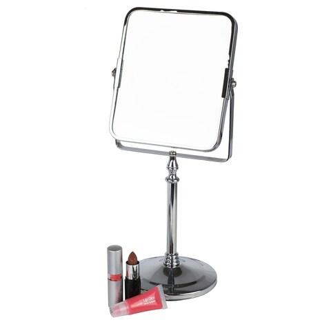 Home Basics Chrome Square Cosmetic Mirror