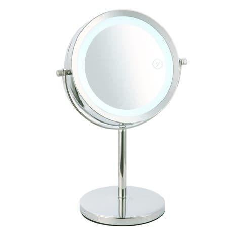 Home Basics Chrome Cosmetic Mirror and LED Light