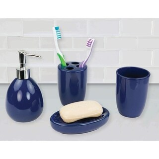 Home Basics Blue 4-piece Bath Accessory Set