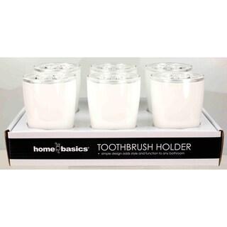 Home Basics White Plastic Toothbrush Holder
