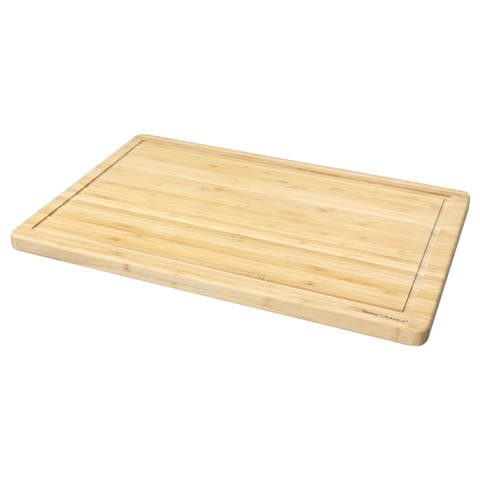 Home Basics Natural Bamboo Cutting Board with Juice Groove