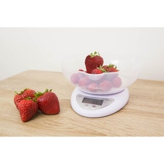 Home Basics White Digital Food Scale and Plastic Bowl