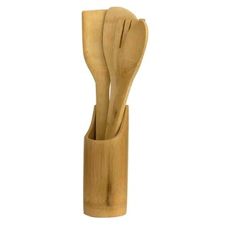 Home Basics Natural 5-piece Bamboo Utensil Set with Sculptural Holder