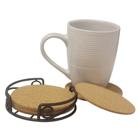 Home Basics Scroll Collection Bronze Steel Coaster Set
