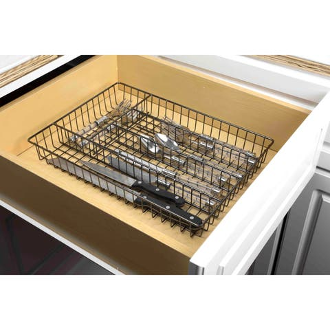 Home Basics Black Onyx Cutlery Tray