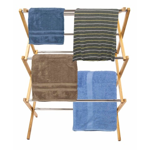 Sunbeam Natural Bamboo and Stainless Steel Foldable Drying Rack