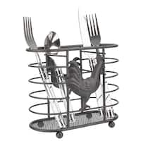 Home Basics Black Rooster Cutlery Holder