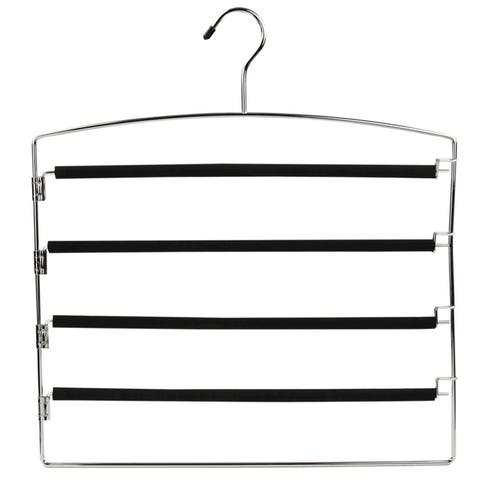 Sunbeam Black 4-tier Chrome Slack Hanger and Clips