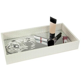 Home Basics White Leather Vanity Tray