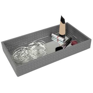 Home Basics Grey Decorative Mirror Vanity Tray