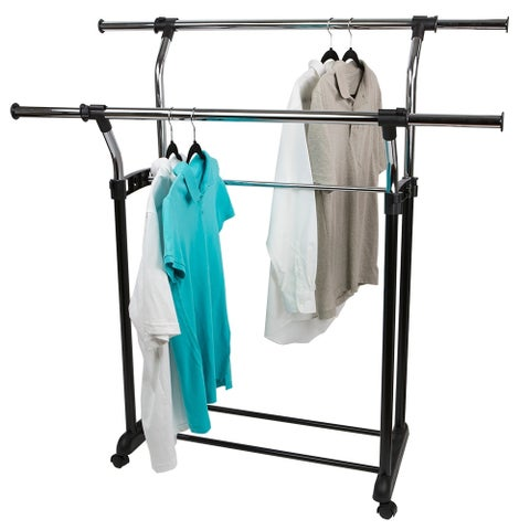 Sunbeam Black and Chrome Plated Steel Adjustable Double Rail Garment Rack
