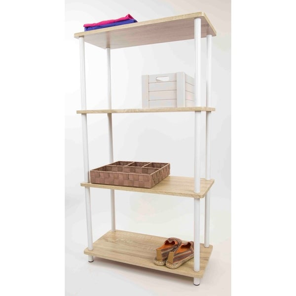 Home Basics Natural Pine Wood 4-tier Rectangular Corner Shelf