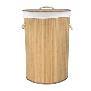 Home Basics Natural Round Foldable Bamboo Hamper