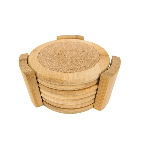 Home Basics Natural 4.5-inch Bamboo Coaster Set and Holder (Pack of 6)