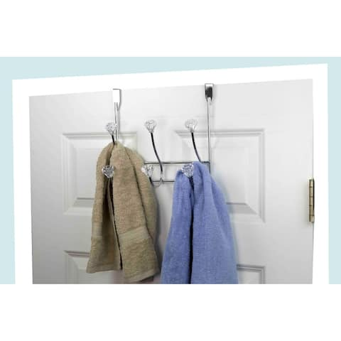 Home Basics Crystal and Chrome Plated Steel 3-hook Over the Door Hanging Rack
