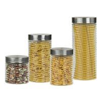 Home Basics Beehive Clear 4-piece Glass Canister Set and Stainless Steel Air-Tight Lids
