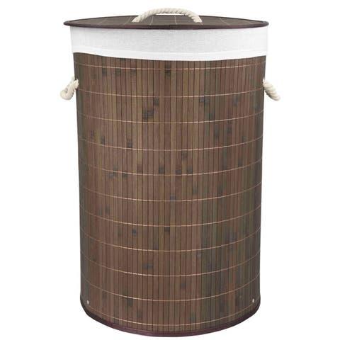 Home Basics Brown Round Foldable Bamboo Hamper