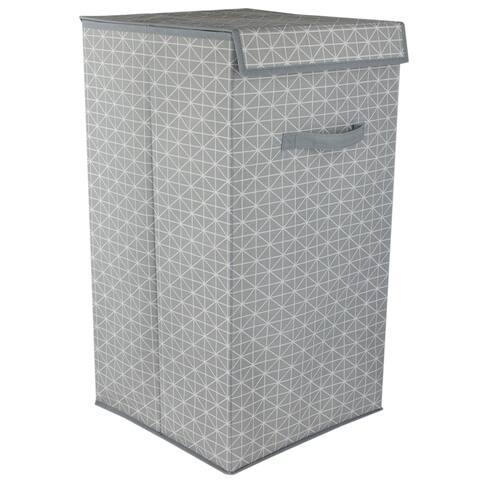 Home Basics Diamond Collection Grey Laundry Hamper