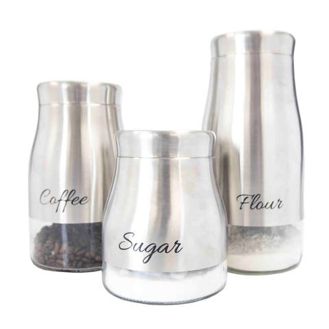Home Basics Stainless Steel 3-piece Canister Set and See-Through Glass Base