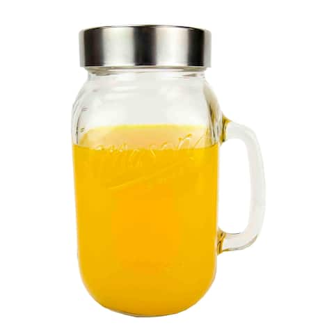 Home Basics Clear 1 Liter Glass Mason Jar and Stainless Steel Lid