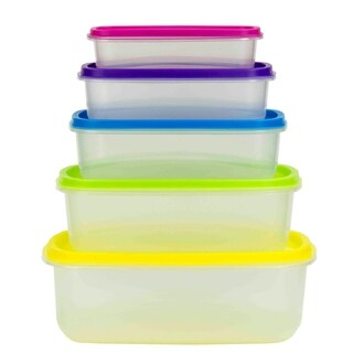 Home Basics Plastic Storage Container Set (Pack of 5)