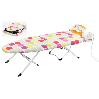 Home Basics White Folding Tabletop Ironing Board - Pink/Red