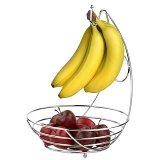 Home Basics Chrome Fruit Bowl and Banana Tree