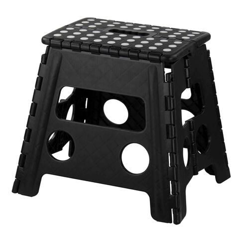 Home Basics Black Large Foldable Plastic Stool