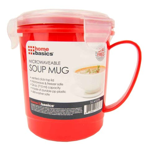 Home Basics Red and Clear 24oz. Plastic Microwaveable Soup Mug