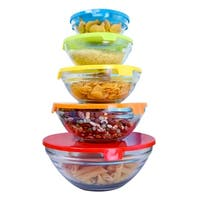 Home Basics Clear 5-pieces Glass Bowl Set and Plastic Colorful Lids