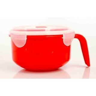 Home Basics Red and Clear 36oz. Plastic Microwaveable Soup Mug