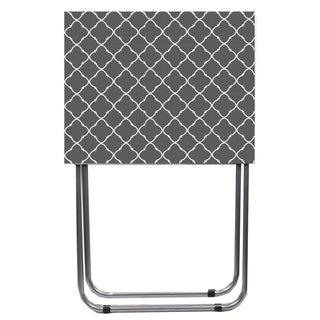 Home Basics Lattice Grey and White Multi-Purpose Foldable Table