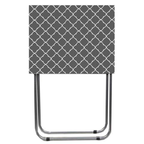 Home Basics Lattice Grey and White Multi-Purpose Foldable Table