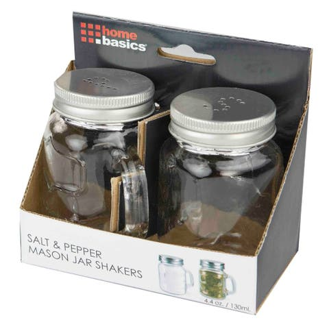 Home Basics Clear 2-piece Salt and Pepper Mason Jar Set