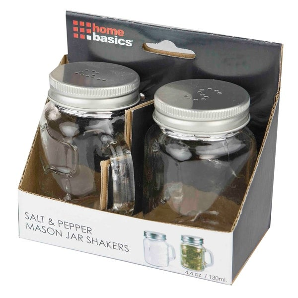 Home Basics Clear 2-piece Salt and Pepper Mason Jar Set. Opens flyout.