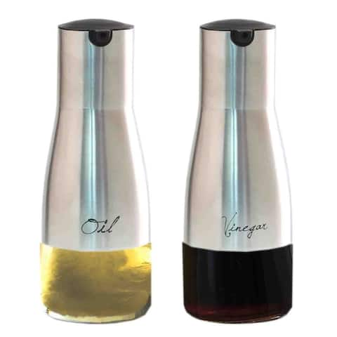 Home Basics Silver 8.5oz. Oil and Vinegar Set with See-Through Glass Base