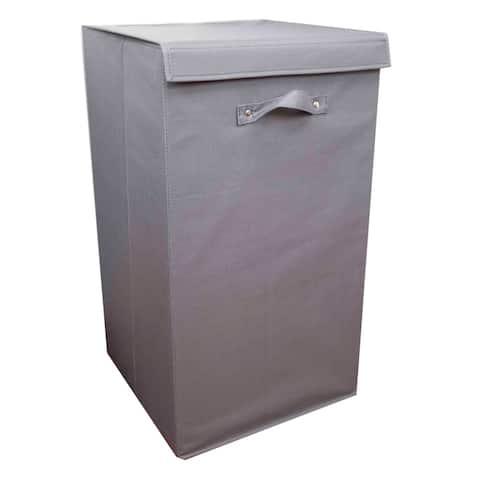 Home Basics Grey 600D Polyester Laundry Hamper