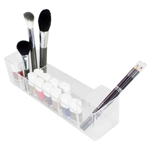 Home Basics Clear Wide Cosmetic Organizer